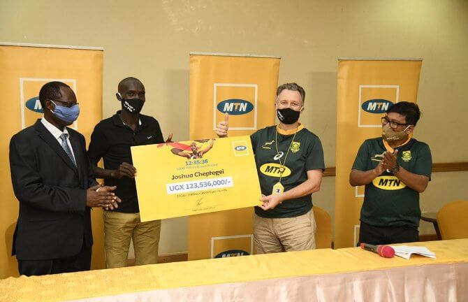 REWARDING TALENT: MTN rewards Cheptegei with over Ugx 123 million in recognition of global milestone