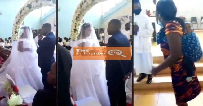 DRAMA IN CHURCH: wife catches husband red handed wedding another woman